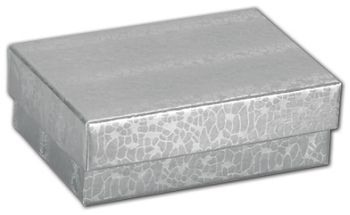 Silver Foil Embossed Jewelry Boxes, 3 x 2 1/8 x 1