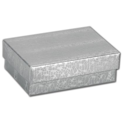 Silver Foil Embossed Jewelry Boxes, 3 x 2 1/8 x 1""
