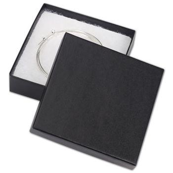 """Black Matte Jewelry Boxes, 3 1/2 x 3 1/2 x 7/8"""""""