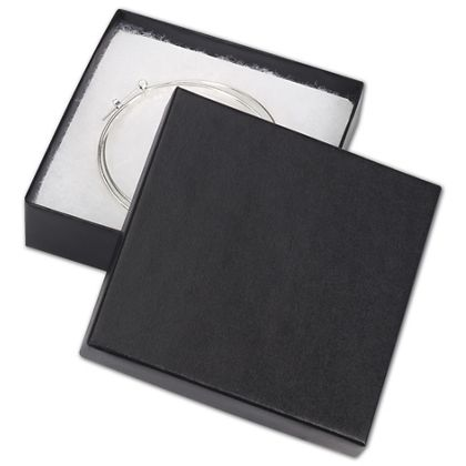 Black Matte Jewelry Boxes, 3 1/2 x 3 1/2 x 7/8""