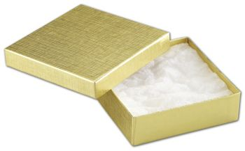 Gold Linen Jewelry Boxes, 3 1/2 x 3 1/2 x 1