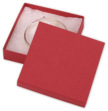 Red Jewelry Boxes, 3 1/2 x 3 1/2 x 7/8
