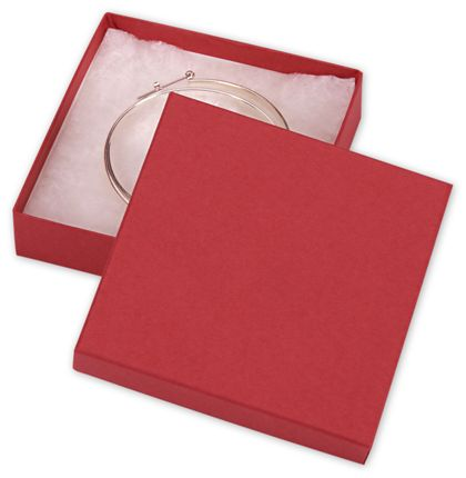 """Red Jewelry Boxes, 3 1/2 x 3 1/2 x 7/8"""""""