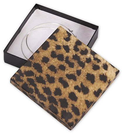 Leopard Jewelry Boxes, 3 1/2 x 3 1/2 x 7/8""