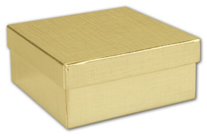 """Gold Linen Jewelry Boxes, 3 1/2 x 3 1/2 x 1 1/2"""""""
