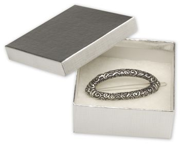 Silver Linen Jewelry Boxes, 3 1/2 x 3 1/2 x 1 1/2