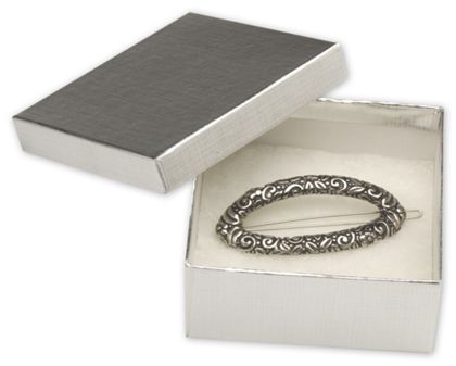Silver Linen Jewelry Boxes, 3 1/2 x 3 1/2 x 1 1/2""