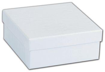 White Krome Jewelry Boxes, 3 1/2 x 3 1/2 x 1 1/2
