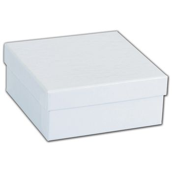 White Krome Jewelry Boxes, 3 1/2 x 3 1/2 x 1 1/2""