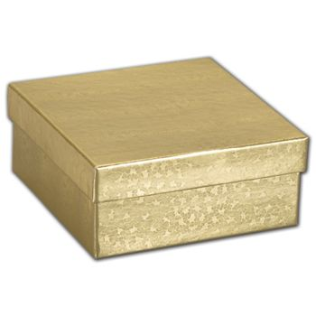 Gold Foil Embossed Jewelry Boxes, 3 1/2 x 3 1/2 x 1 1/2