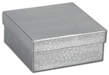 Silver Foil Embossed Jewelry Boxes, 3 1/2 x 3 1/2 x 1 1/2