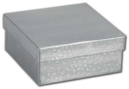 Silver Foil Embossed Jewelry Boxes, 3 1/2 x 3 1/2 x 1 1/2""