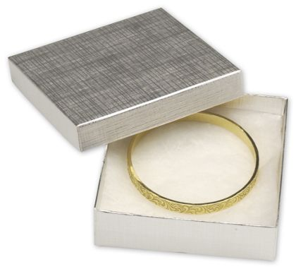 Silver Linen Jewelry Boxes, 3 1/2 x 3 1/2 x 1""