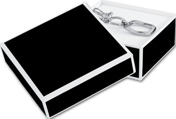 Bookman Black Jewelry Boxes, 3 x 3 x 1 1/4