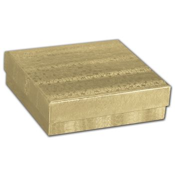 Gold Foil Embossed Jewelry Boxes, 3 1/2 x 3 1/2 x 7/8