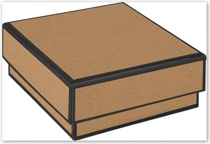 Kraft Jewelry Boxes, 3 x 3 x 1 1/4""