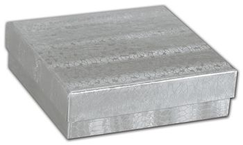 Silver Foil Embossed Jewelry Boxes, 3 1/2 x 3 1/2 x 7/8