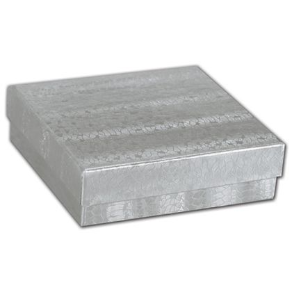 Silver Foil Embossed Jewelry Boxes, 3 1/2 x 3 1/2 x 7/8""