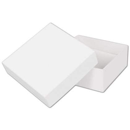 """Solid White Jewelry Boxes, 3 x 3 x 1 1/4"""""""
