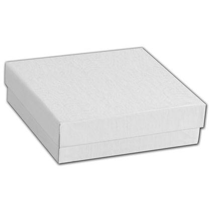 "White Swirl Jewelry Boxes, 3 1/2 x 3 1/2 x 7/8"""