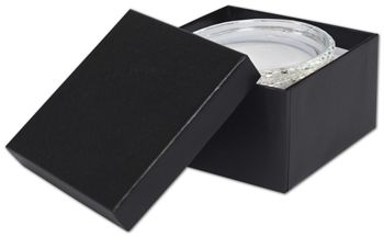 Black Matte Jewelry Boxes, 3 1/2 x 3 1/2 x 1 7/8