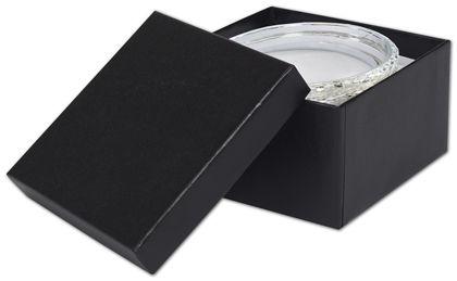 """Black Matte Jewelry Boxes, 3 1/2 x 3 1/2 x 1 7/8"""""""