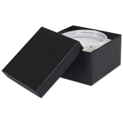 Black Matte Jewelry Boxes, 3 1/2 x 3 1/2 x 1 7/8""