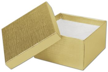 Gold Linen Jewelry Boxes, 3 1/2 x 3 1/2 x 2