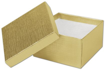 Gold Linen Jewelry Boxes, 3 1/2 x 3 1/2 x 2""