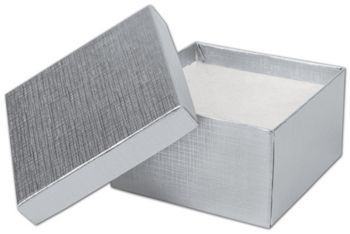 Silver Linen Jewelry Boxes, 3 1/2 x 3 1/2 x 2