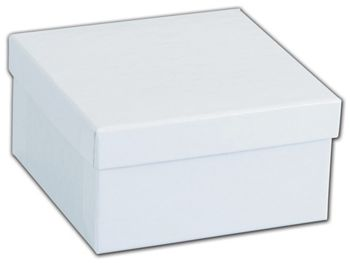 White Krome Jewelry Boxes, 3 1/2 x 3 1/2 x 1 7/8