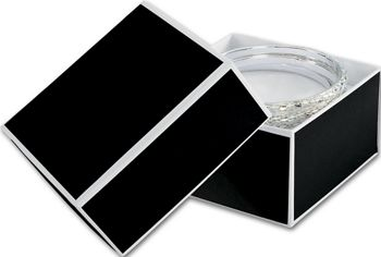 Bookman Black Jewelry Boxes, 3 1/2 x 3 1/2 x 2