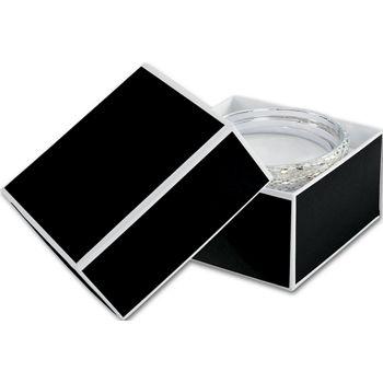 "Bookman Black Jewelry Boxes, 3 1/2 x 3 1/2 x 2"""