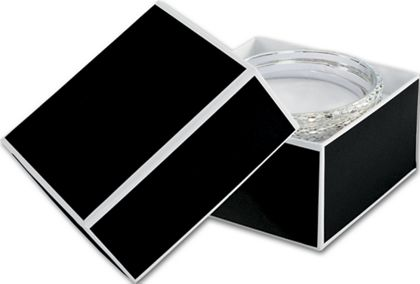 Bookman Black Jewelry Boxes, 3 1/2 x 3 1/2 x 2""