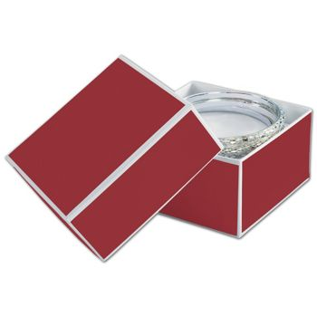 Bridge Red Jewelry Boxes, 3 1/2 x 3 1/2 x 2