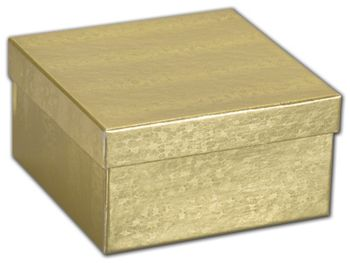 Gold Foil Embossed Jewelry Boxes, 3 1/2 x 3 1/2 x 1 7/8