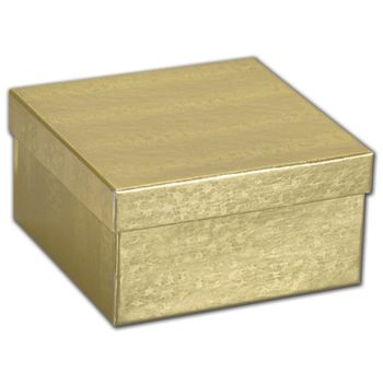 Gold Foil Embossed Jewelry Boxes, 3 1/2 x 3 1/2 x 1 7/8""