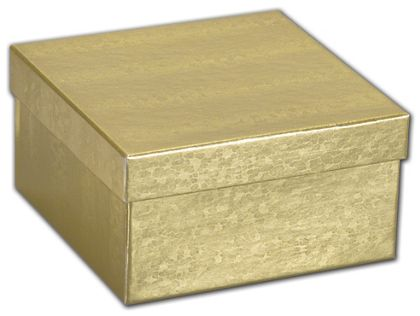 """Gold Foil Embossed Jewelry Boxes, 3 1/2 x 3 1/2 x 1 7/8"""""""
