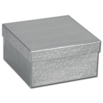 Silver Foil Embossed Jewelry Boxes, 3 1/2 x 3 1/2 x 1 7/8