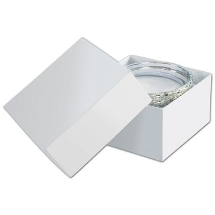 Solid White Jewelry Boxes, 3 1/2 x 3 1/2 x 2""