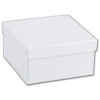 White Swirl Jewelry Boxes, 3 1/2 x 3 1/2 x 1 7/8""