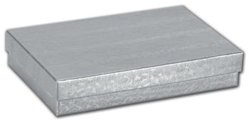 Silver Foil Embossed Jewelry Boxes, 5 7/16 x 3 1/2 x 1