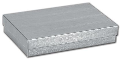 """Silver Foil Embossed Jewelry Boxes, 5 7/16 x 3 1/2 x 1"""""""