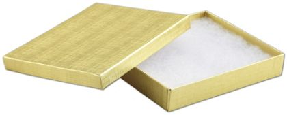 Gold Linen Jewelry Boxes, 6 x 5 x 1""