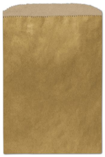 Metallic Gold Color-on-Kraft Merchandise Bags, 6 1/4x9 1/4