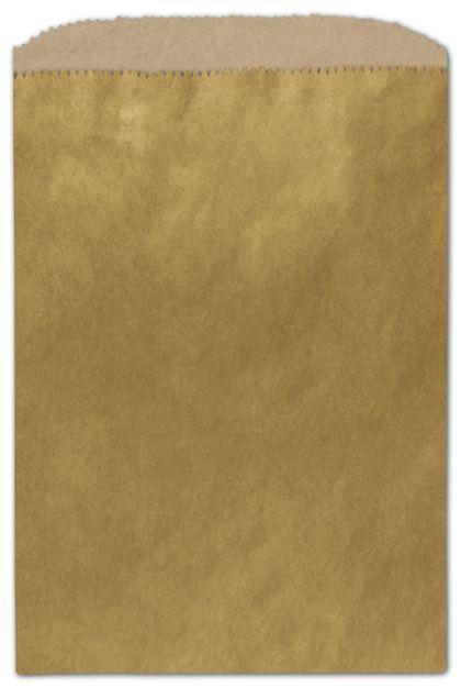 Metallic Gold Color-on-Kraft Merchandise Bags, 6 1/4x9 1/4