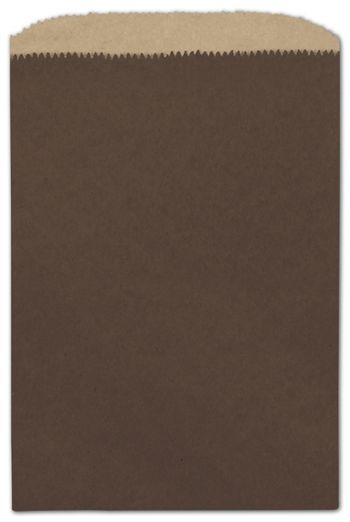 Chocolate Color-on-Kraft Merchandise Bags, 6 1/4 x 9 1/4
