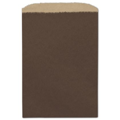 Chocolate Color-on-Kraft Merchandise Bags, 6 1/4 x 9 1/4""