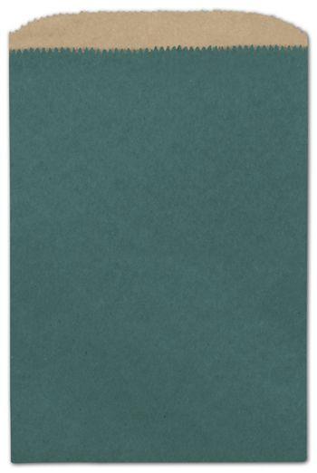 Teal Color-on-Kraft Merchandise Bags, 6 1/4 x 9 1/4