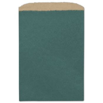 Teal Color-on-Kraft Merchandise Bags, 6 1/4 x 9 1/4